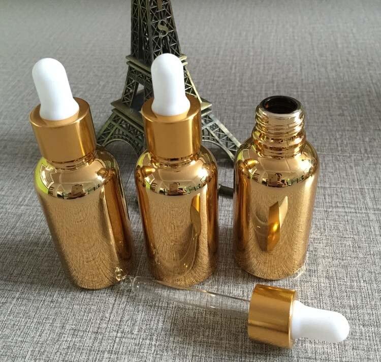 50 pecas 30 ml alta temperatura banhado a ouro garrafa de vidro de oleo essencial oleo
