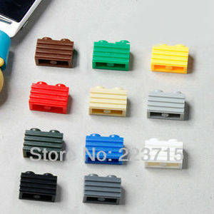 Free Shipping!2877 50pcs*Brick 1x2 with Grille* DIY enlighten block bricks,Compatible With Assembles Particles