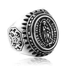 Religious beliefs Nuestra Senora de Guadalupe sale stainless steel ring vintage men jewelry Fast shipping STR-Y703013