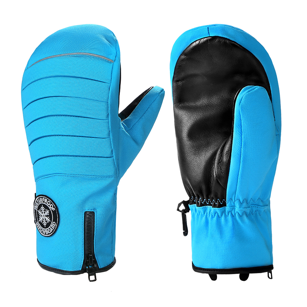 Men/Women Waterproof Ski Mittens warmest Winter Gloves for Skiing Snowboarding gloves with zipper