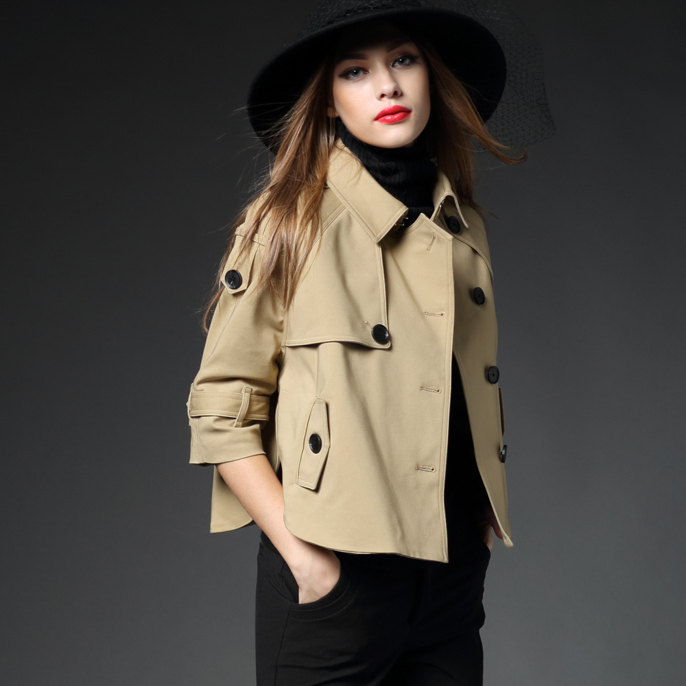 BURDULLY Brand 2018 luxurious Short coat Women's Trench Spring and autumn femalecloak Small trenc coat