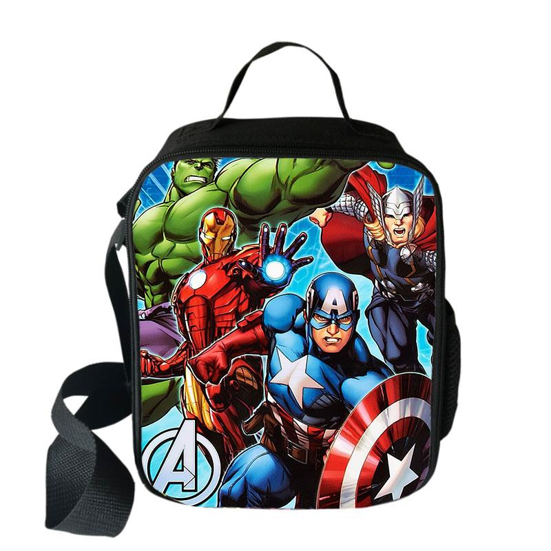 Super Hero Iron Man Hulk Cooler Lunch Bag Cartoon Girls Portable Thermal Food Picnic Bags For School Kids Boys Box Tote