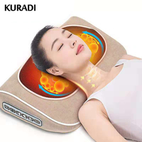 220v Electric Shiatsu Infrared Massage Pillow Machine Neck Leg Waist Hips Muscle Massager Electric for Back with 10 Ball Massage