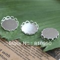 Free Shipping! Wholesale,10-25mm Brass Photo Lace Blank Pendant Tray Cameo,Silver Plated DIY Jewelry Findings Setting
