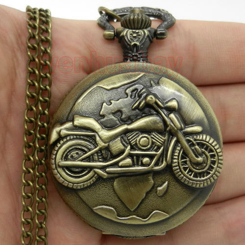 Antique Bronze Motorcycle Motorbike MOTO Pocket Watch Necklace Pendant Men Gift P79 vintaeg antique bronze big ben london quartz men pocket watch chain necklace pendant gift p82