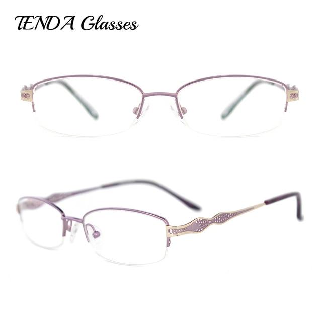 7db95aed6aa Fashion Designer Eyeglasses Women Eyewear Metal Half Rim Oval Optical Frame  For Glasses Prescription