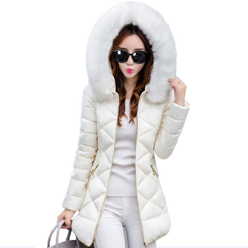 Slim Faux Fur Collar Winter Cotton Coats Long Parkas Warm Hooded Female Jackets Wadded Outwear Winter Jacket Overcoat FP0024 jolintsai winter coat jacket women warm fur hooded woman parkas winter overcoat casual long cotton wadded lady coats