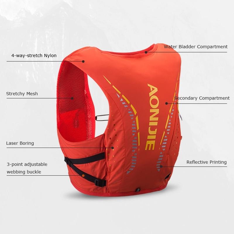 AONIJIE 10L sacs d'hydratation en plein air randonnée sac à dos gilet professionnel Marathon course cyclisme avancé peau sac à dos - 5