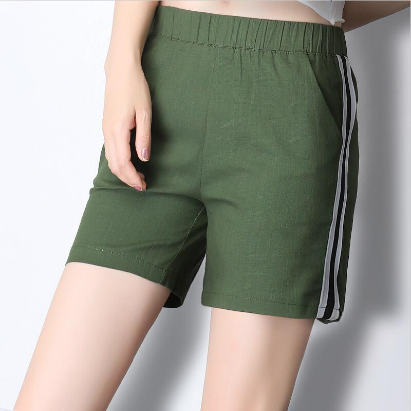 Elastic Waist Casual Women   Shorts   Summer New 2018 Solid Loose Mid   Shorts   Cotton Linen beach Large Size 5XL 6XL 7XL   Shorts   Female