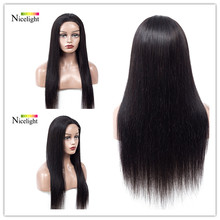 Long Straight Human Hair Wigs 4X4 Closure Lace Nicelight Malaysian Lace Wig 8-24inch Short Closure Hair Wigs With Hairline(China)