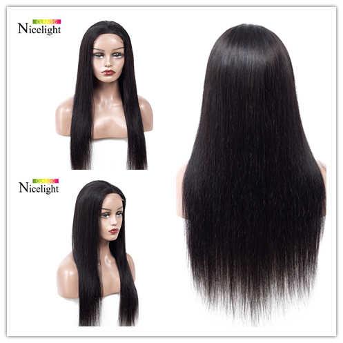 Pelucas largas rectas de cabello humano 4X4 de cierre de encaje Nicelight Peluca de encaje malayo 8-24 pulgadas de cierre corto pelucas de cabello con línea de cabello