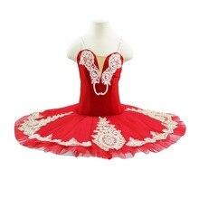 Girls red professional dance tutu costume children&junior practicing performance ballet dress for women