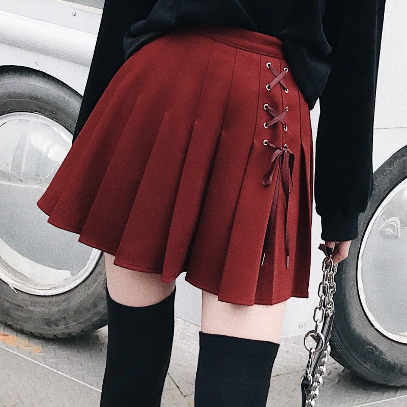 Women Pleated Tennis Skort With Side Lace Up Details Preppy Style Mini Skirt