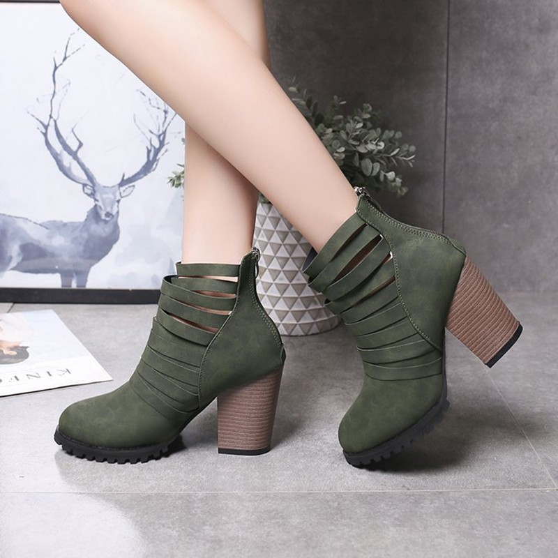 COOTELILI Hollowed-Out Shoes Woman High Heels Ankle Boots For Women Fashion 9cm Heel Rubber Boots Women Pumps 40 41 42 43  (10)