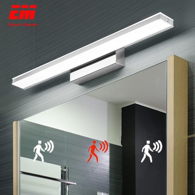 CONDUZIU a Luz do Espelho 42 52cm Cosmética Moderna Acrílico Lâmpada de Parede Sensor de Movimento PIR À Prova D Água Para A Luz Do Banheiro arandela lâmpada ZJQ0005