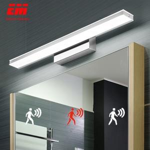Image 1 - Lampe murale étanche avec capteur de mouvement PIR, miroir, lampe acrylique moderne, éclairage pour applique de salle de bains, 42 52cm, ZJQ0005, LED