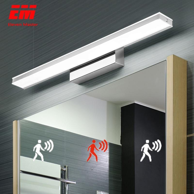 Led espelho de luz 42-52cm pir sensor de movimento à prova dwaterproof água moderna lâmpada de parede de acrílico cosmético para banheiro luz arandela lâmpada zjq0005