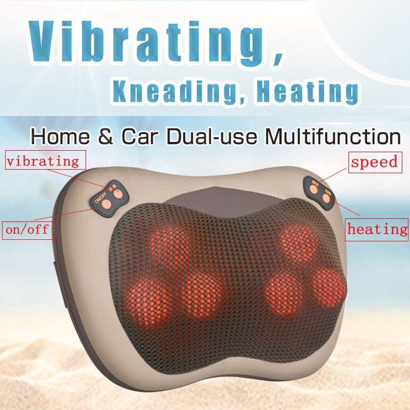 JinKaiRui Vibrating Kneading Neck Body Massager Hammer Pillow Infrared Shiatsu Electric Shoulder Back Massage Massages Car/Home 2