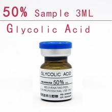 Гликолевая кислота 50% образец 3 мл aha очиститель кожи кислотный пилинг удаление акне pockmark пилинг лечение