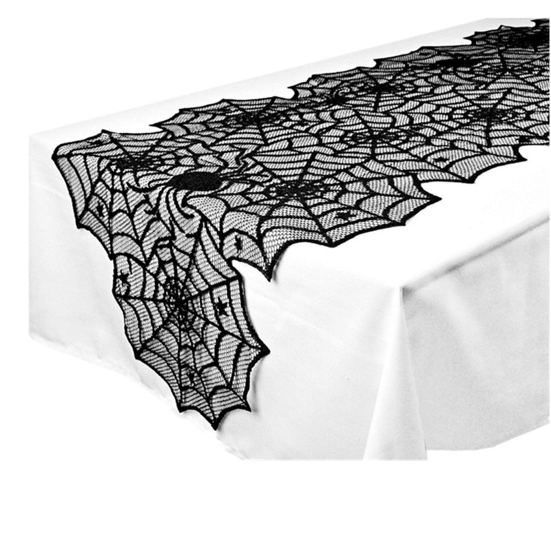 1x Black Lace Spider Web Tablecloth Tablecover Spooky Look Halloween Decor Props