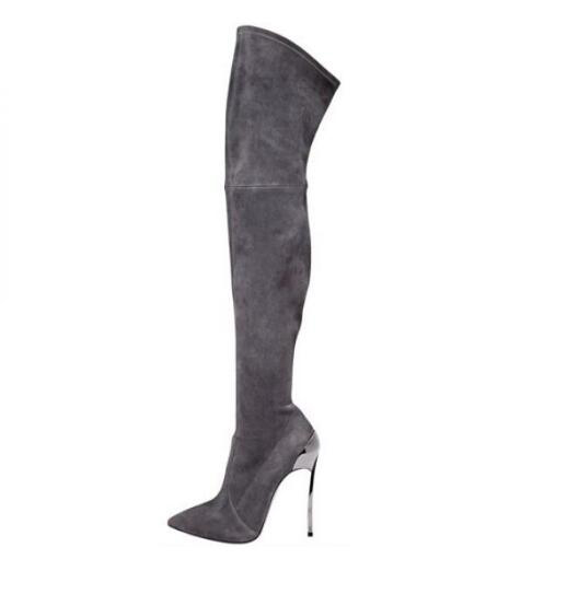 Newest Brand Winter Boots Pointed Toe High Heel Boots Sexy Over the Knee Boots for Woman 2018 Stretch Fabric Thigh High Boots