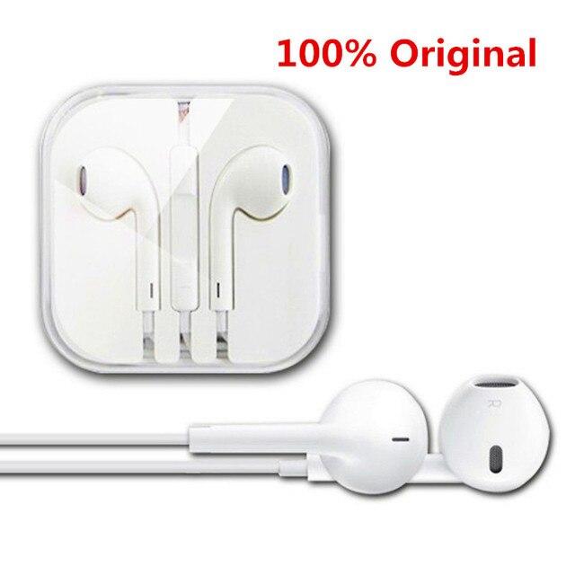 100% Оригинальный Белый 3.5 мм наушники Для apple iphone 5/5s/6/6 s плюс Earpods наушники с Пультом Управления и Микрофоном Для iPad/iPod