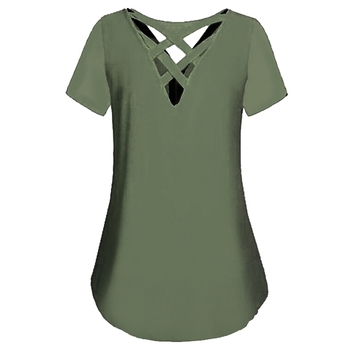 Women Plus Size V-Neck Short Sleeve Back Cross Blouses