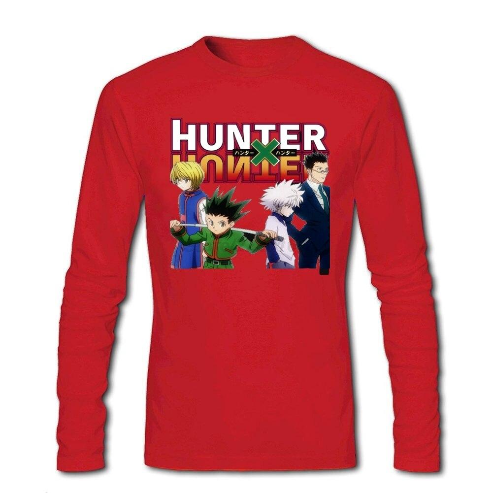 Desain t shirt kerah - 2017 Pria Hunter X Hunter Kelompok T Shirts Vintage Desain Tops Jepang Anime T Shirt