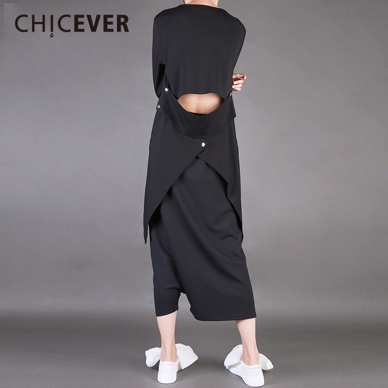 CHICEVER Spring Slim Balck Women T Shirts Top Long Sleeve V Neck Backless Pullovers Womens T Shirt Clothes Fashion Korean 2018