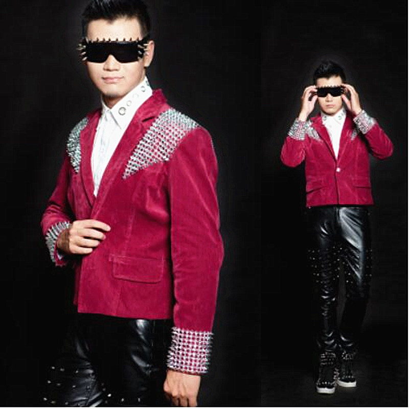 Punk style male jacket coat gold rivet Jackets Blazers Bar nightclub DJ singer Costume dancer stage performance dance outerwear