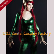 Free Shipping DHL Wholesale Green Queen of Atlantis Shiny Metallic Superhero Zentai Catsuit Cosplay Halloween Costume