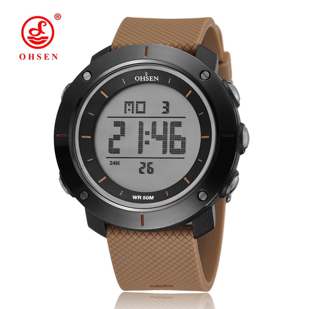 OHSEN New 2017 sport fashion mens wristwatches swimming diving brown rubber band military electronic LED watch
