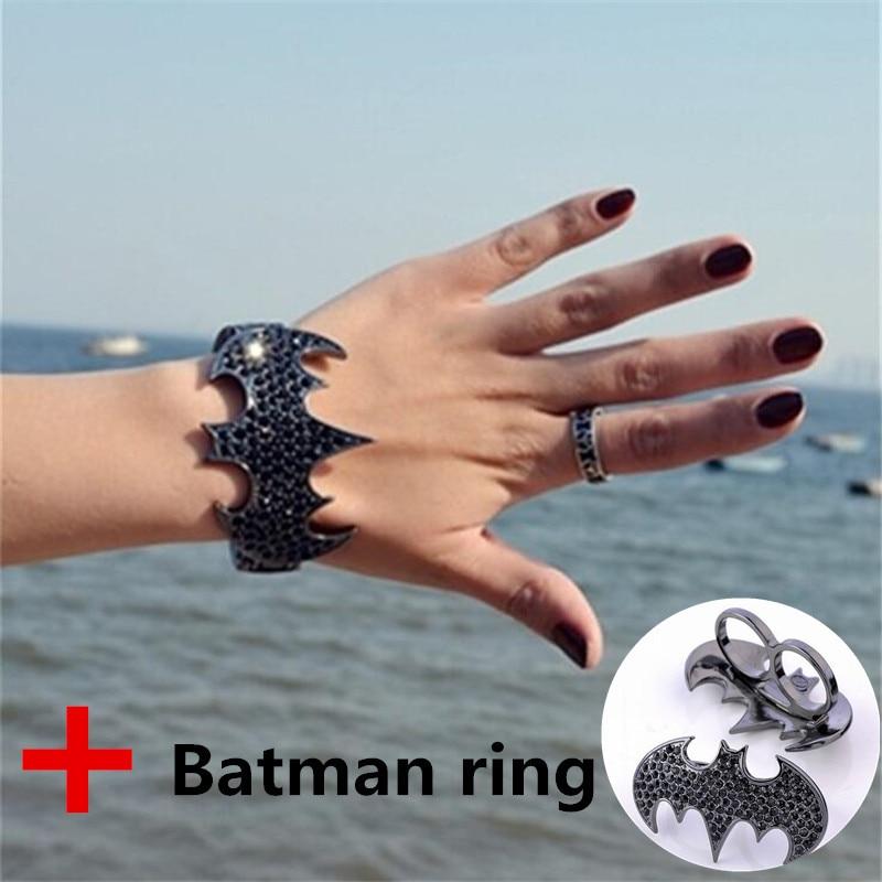 Bangles Bracelet Batman-Ring Crystal-Bat Punk Black with Opening Exaggerated Vintage