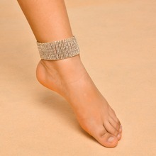 Leg Chain 14 Rows Crystal Wide Anklet For Women