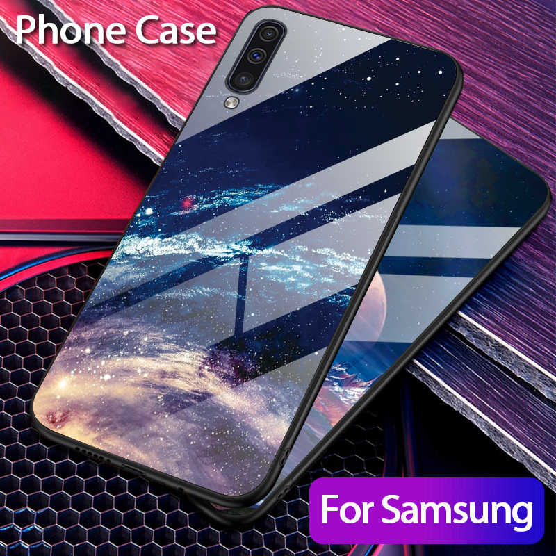Luxury Star Glass Phone Case For Samsung Galaxy A50 A30 Silicone Case For Galaxy A70 A20 A10 S10 Plus S10e Hard Glass Back Cover