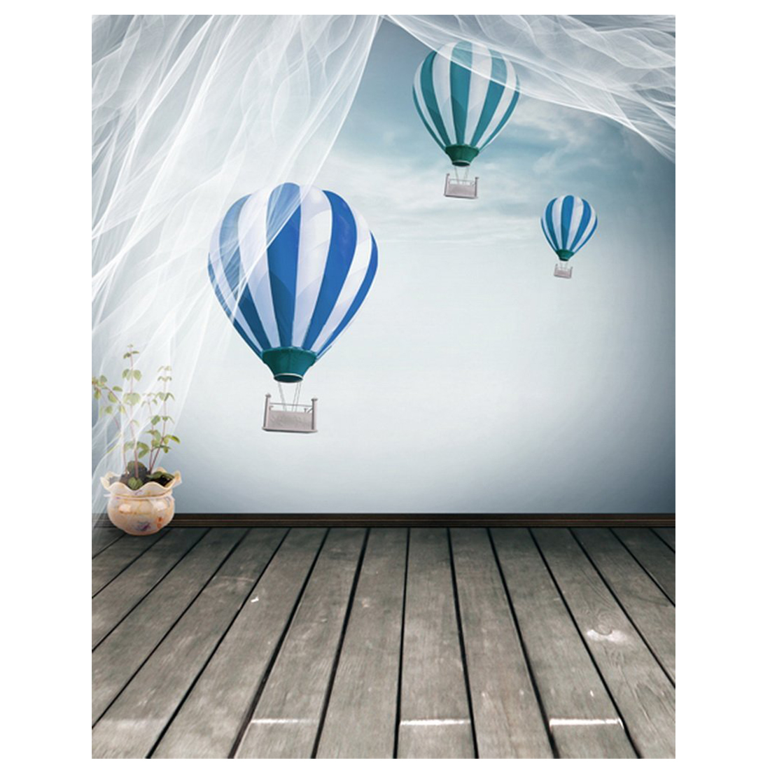 Wooden Floor Blue Hot Air Balloon Photography Backdrops Photo Props Studio Background 5x7ft photo background blue sky white clound photography backdrops newborn hot air balloon fly studio photo backdrop