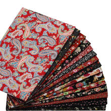 hot deal buy red printed flower poplin fabrics patchwork fabric crafts cotton sewing bed pillow material clothing 12pcs 23*24cm/46*48cm