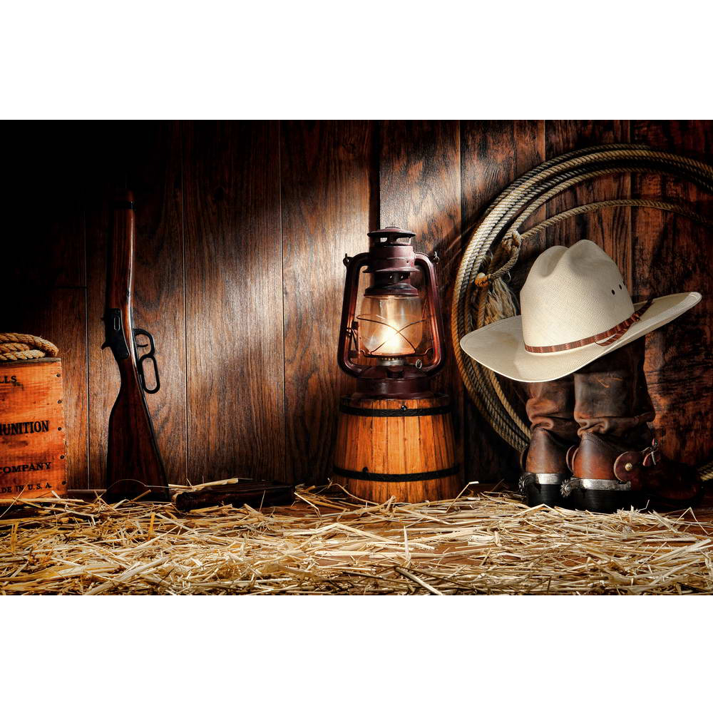 Country Cowboy Theme Backdrop Photography Printed Wooden