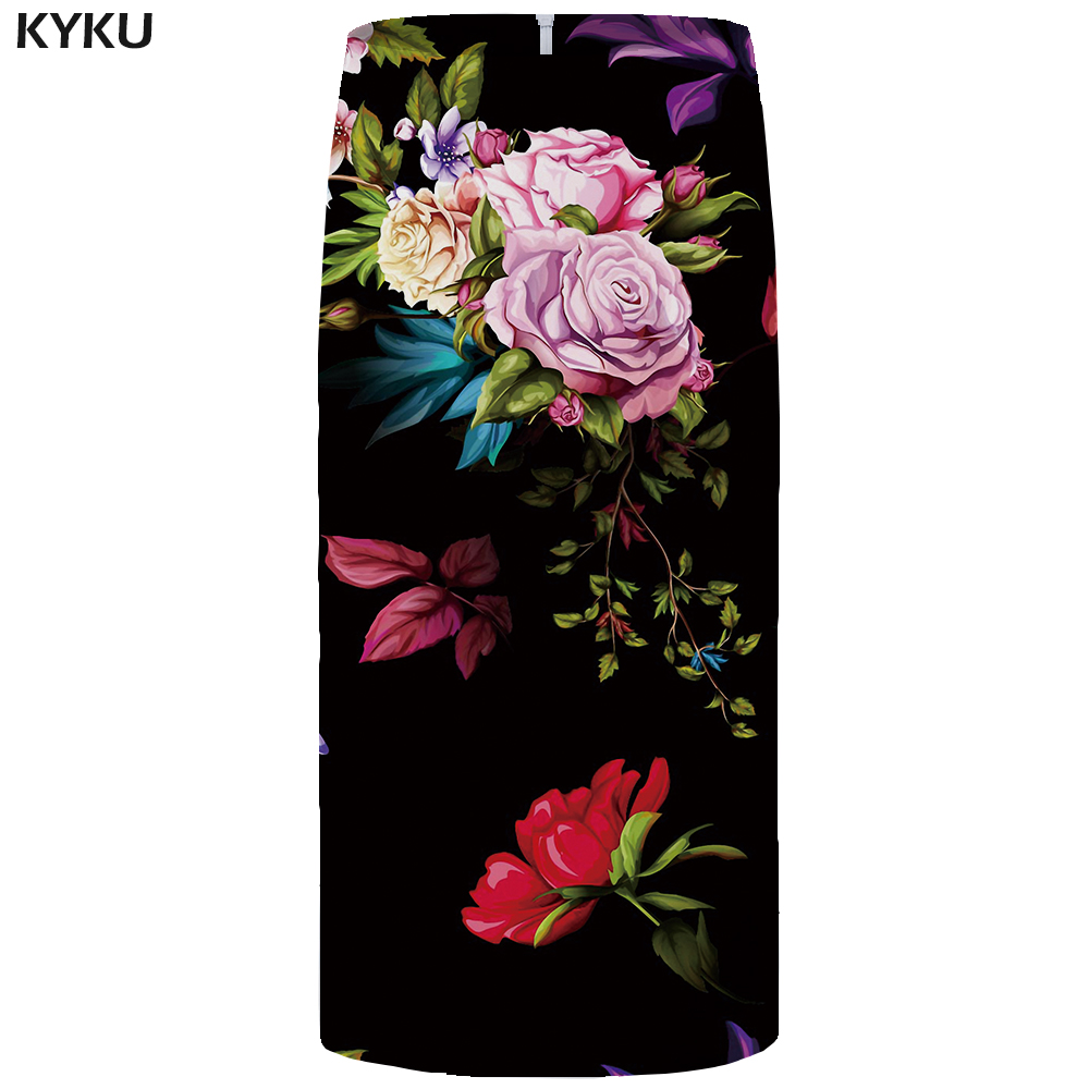 Kyku Flower Skirts Women Black Colorful Party Skirts Casual Retro Leaf Floral 3d Print Skirt Pencil Funny Ladies Skirts Womens