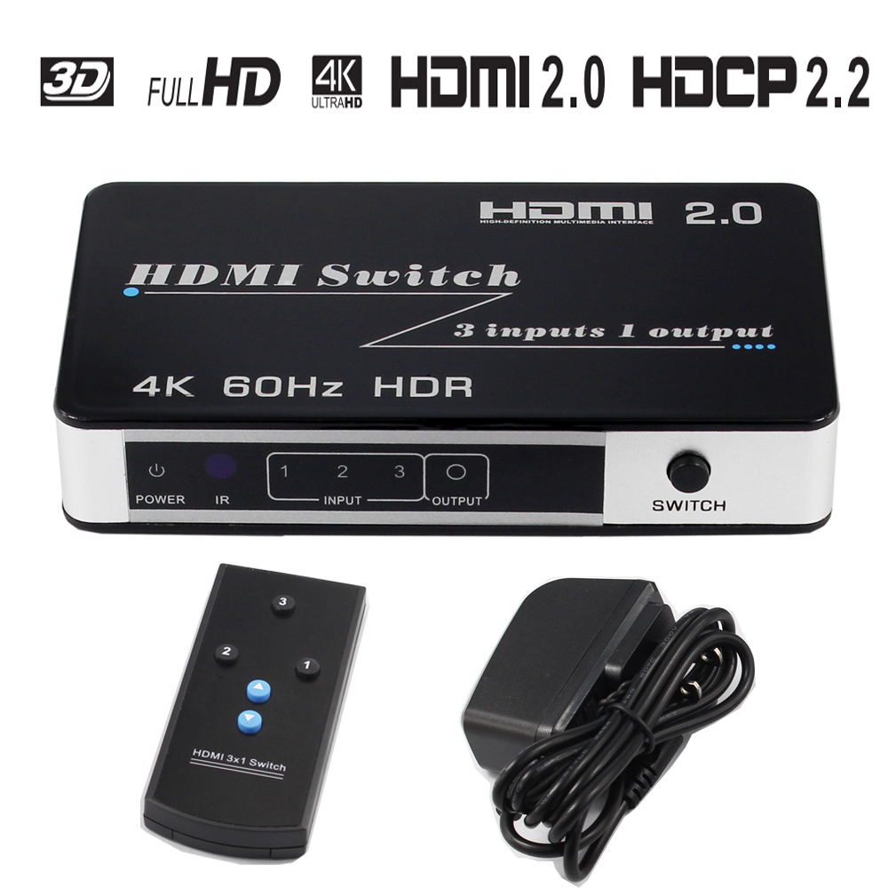 HDMI Switch 3X1 60Hz 4Kx2K 3 port HDMI Switch Switcher Ultra HD 1080P for HDTV Xbox PS3 PS4 Multimedia HDMI Converter Adapter