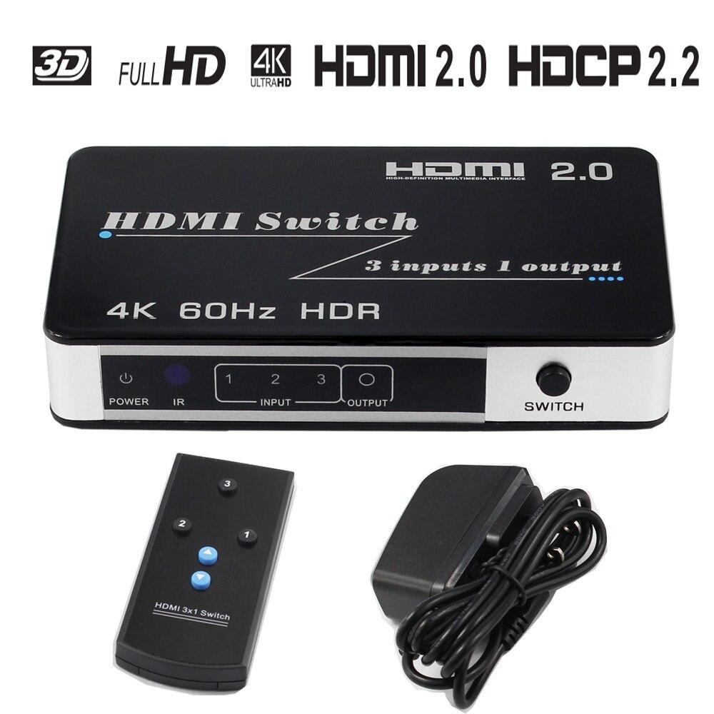 4 k HDMI Commutateur 3X1 3D 4Kx2K @ 60 hz Switcher Ultra 1080 p HD pour HDTV Xbox PS3 PS4 Multimédia HDMI Convertisseur Adaptateur