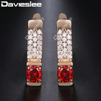 2f42826b4 Davieslee Stud Earrings For Women 585 Rose Gold Filled Red CZ Clear  Rhinestones Womens Earring Fashion