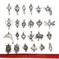 24 adet Karışık Hayvan Şekli Antik Gümüş Inci Kafes Locket Kolye Uçucu Yağ Difüzörü Kolye Bilezik Takı Yapımı