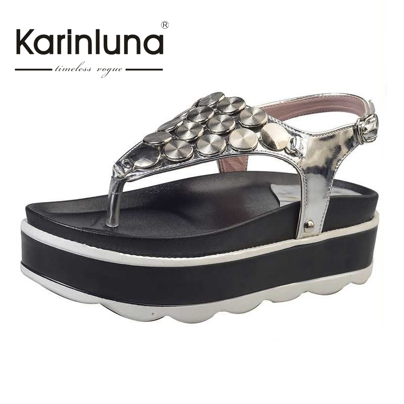KARINLUNA 2017 Fashion New Buckle Strap Concise Women Sandals Summer Open Toe Comfort High Heel Wedges Platform Shoes Woman xiaying smile summer new woman sandals platform women pumps buckle strap high square heel fashion casual flock lady women shoes