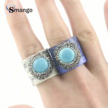 5 Pieces,2019 New Arrival! Ladies Fashion Leather Rhinestone Rings, Two Colors, Can Mix