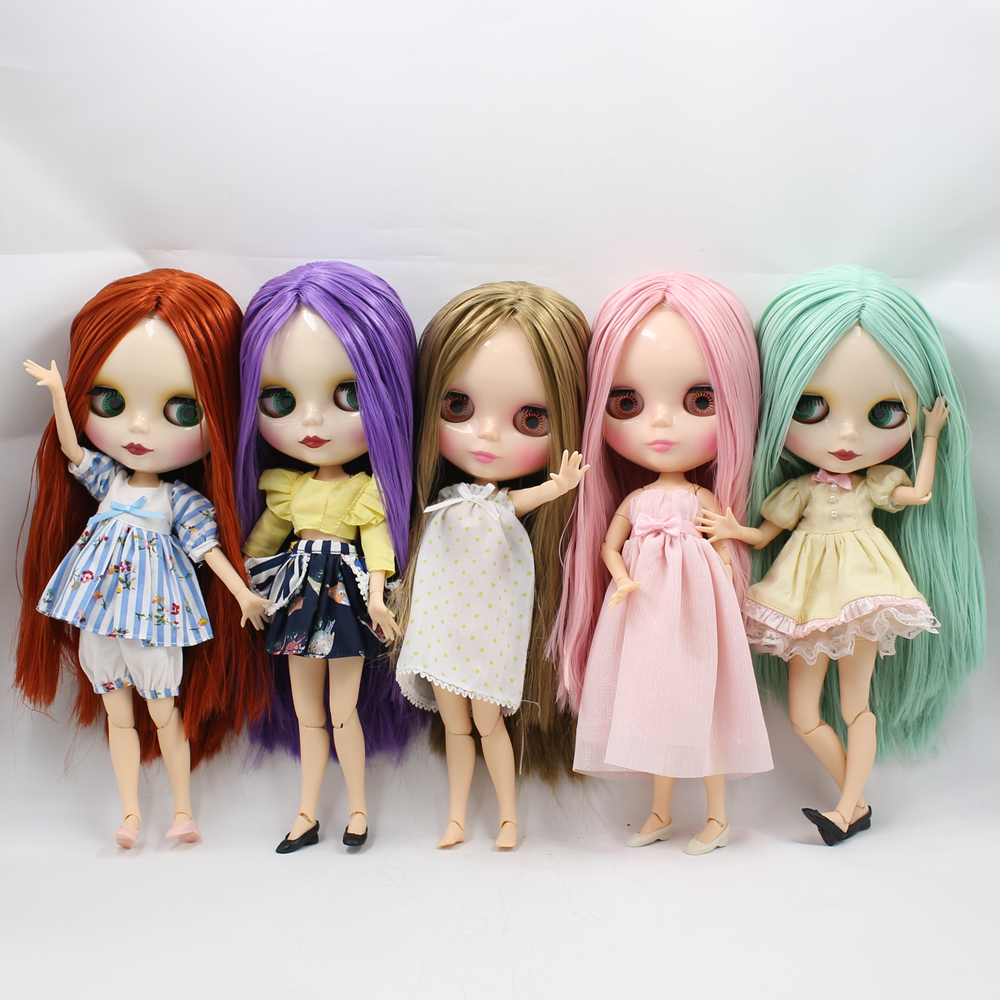 Blyth Nude Doll with Joint body 5 Different colors long Hair suitable DIY face makeup doll toys for saleBlyth Nude Doll with Joint body 5 Different colors long Hair suitable DIY face makeup doll toys for sale
