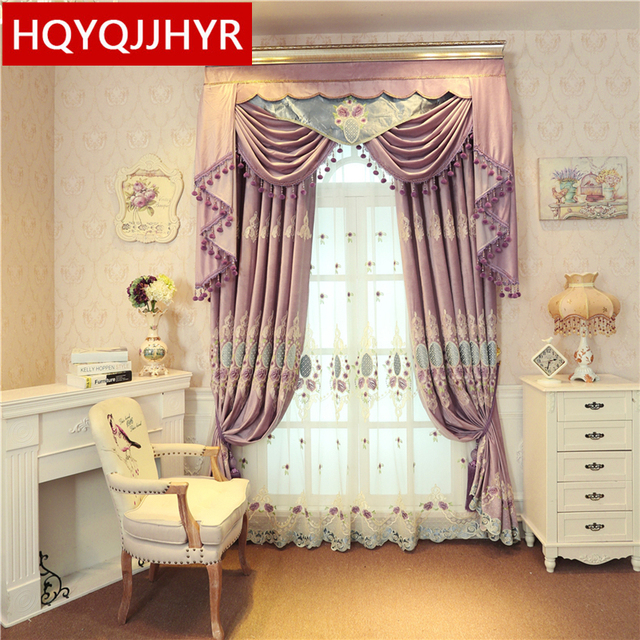 European Clic Luxury Purple Velvet Embroidered Blackout Curtains For The Living Room Custom High Quality Bedroom