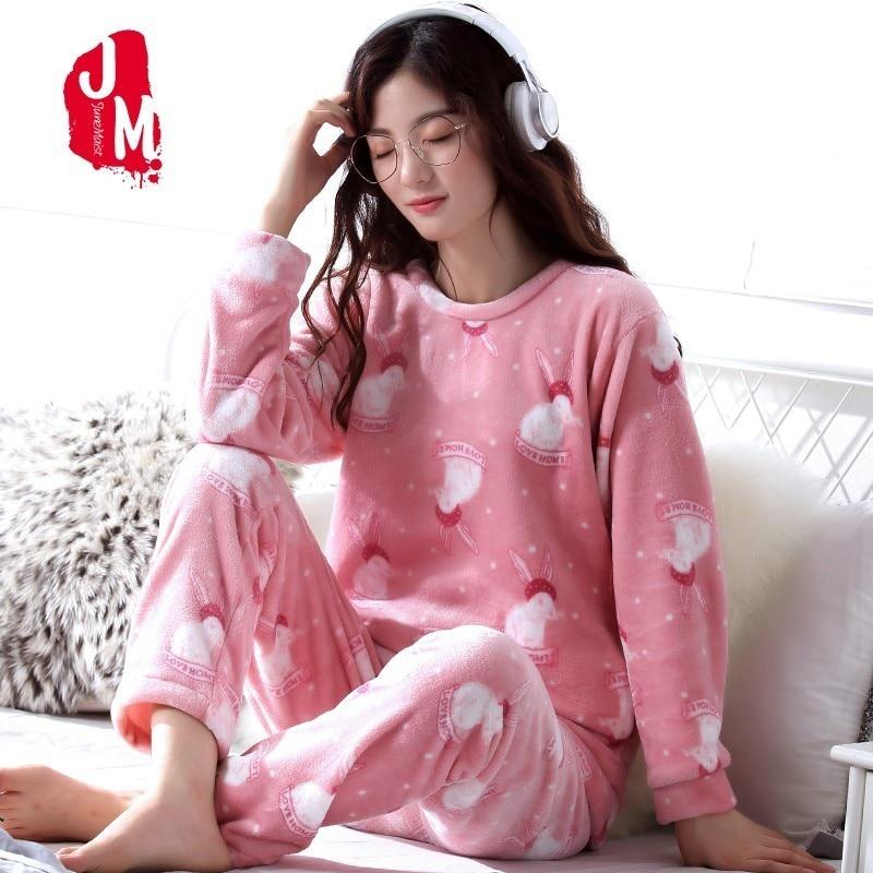 Warm Pajamas Female Winter Cartoon Coral Fleece Women Pajamas Set 2018  Thick Flannel Pyjamas Women Plus Size Homewear Sleep XXXL-in Pajama Sets  from ... 74ac9bbf0