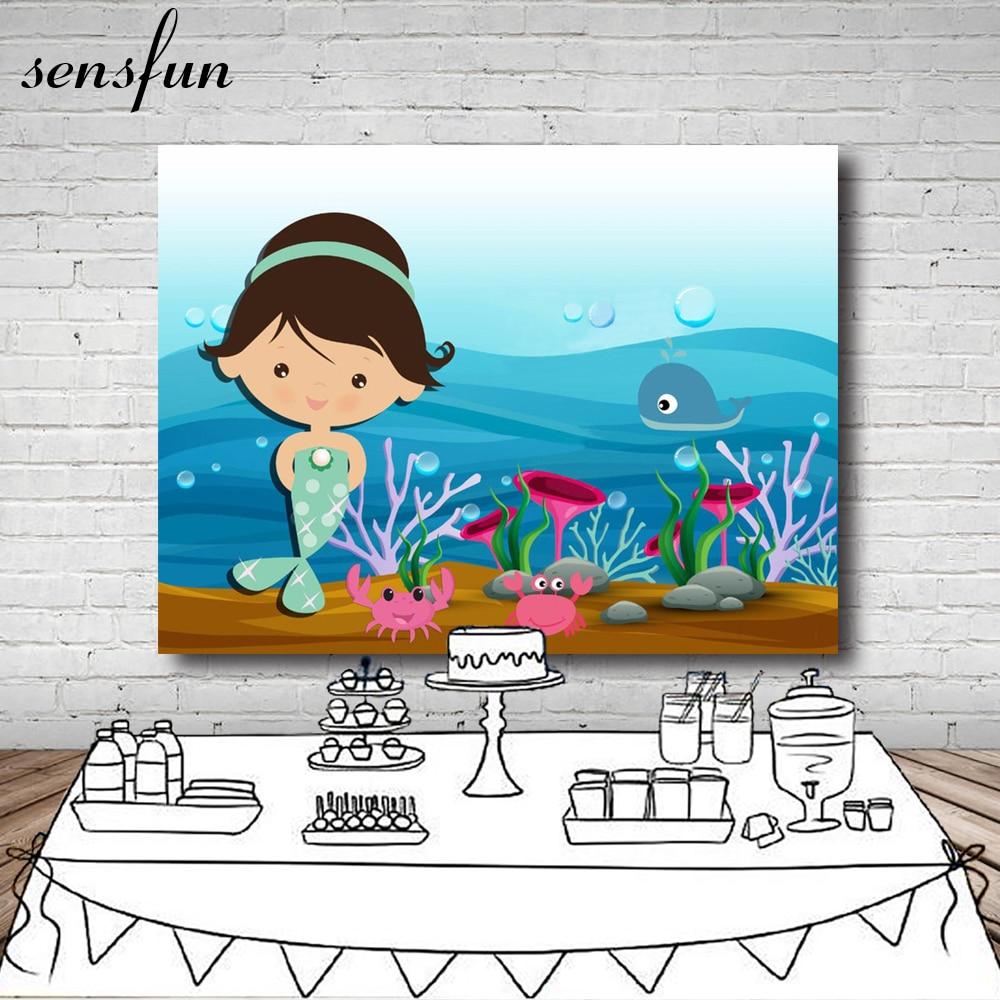 Little Mermaid Under Sea Fish Bubbles Custom Backdrops Children Newborn Baby Shower Backgrounds For Photo Studio Vinyl