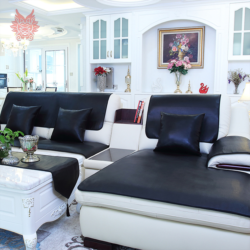 White Black Wine Red Vintage Pu Leather Sofa Cover